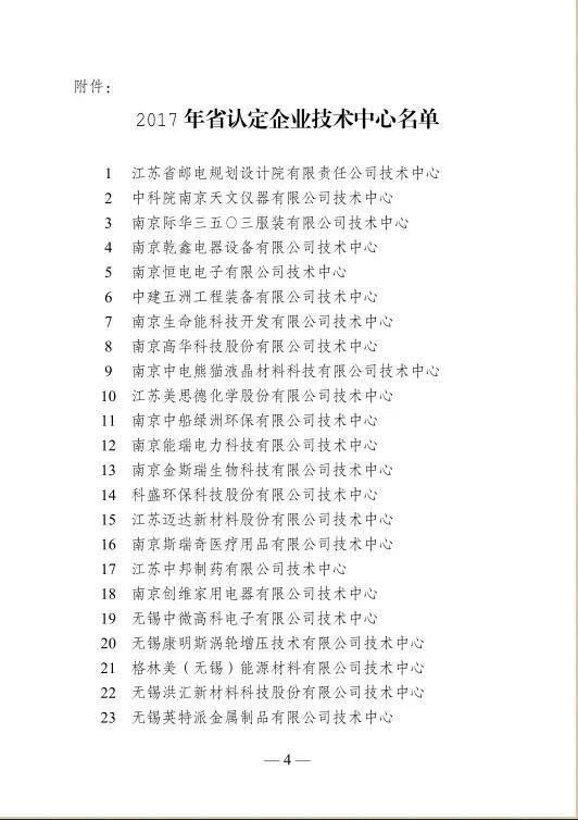 2017年省认定企业技术中心名单公布,苏州铃木电梯在列